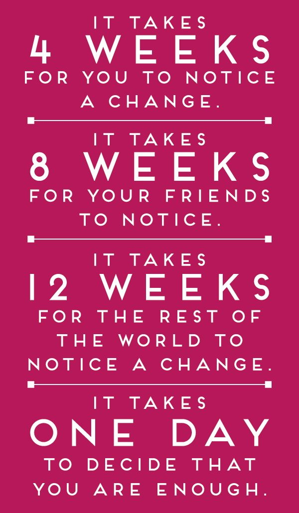 It takes 12 weeks!