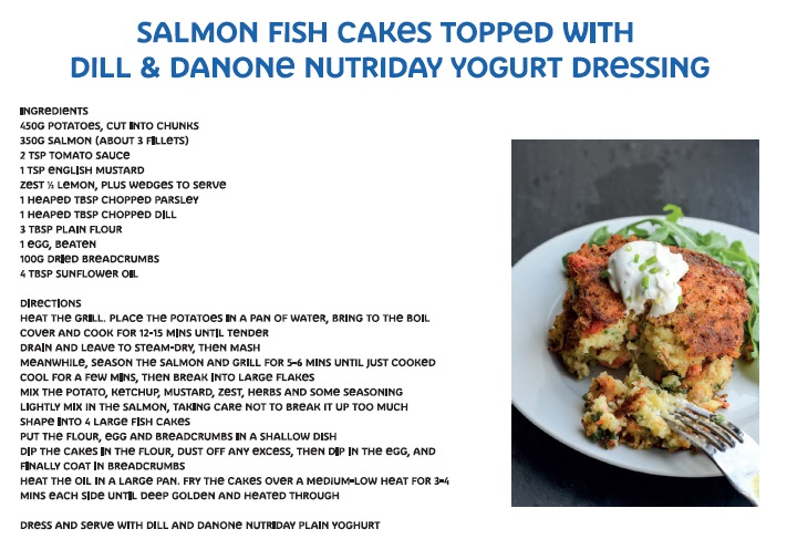 Salmon fish cakes topped with dill & Danone NutriDay yoghurt dressing