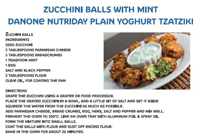 Zucchini Balls with mint Danone Nutriday yoghurt Tzatziki